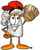 Cartoon Chef Hat Character Playing Baseball clipart