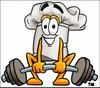 Cartoon Chef Hat Character Weightlifting clipart