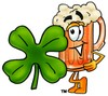 Cartoon Beer Mug Character with Four Leaf Clover clipart