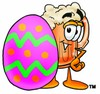 Cartoon Beer Mug Character Beside an Easter Egg clipart