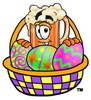 Cartoon Beer Mug Character Behind Easter Egg Basket clipart