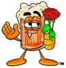 Cartoon Beer Mug Character Holding a Flower clipart