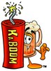 "Cartoon Beer Mug Character with ""KABOOM"" Dynamite Stick clipart"