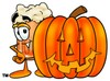 Cartoon Beer Mug Character with Halloween Pumpkin clipart