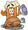 Cartoon Beer Mug Character Uncovering Thanksgiving Turkey clipart