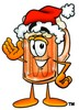 Cartoon Beer Mug Character Wearing a Santa Hat clipart