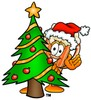 Cartoon Beer Mug Character Beside a Christmas Tree clipart