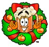 Cartoon Beer Mug Character with a Christmas Wreath clipart
