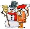 Cartoon Beer Mug Character Beside Snowman clipart