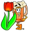 Cartoon Beer Mug Character Beside a Spring Tulip clipart