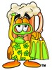 Cartoon Beer Mug Character Wearing Snorkel Gear clipart