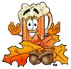 Cartoon Beer Mug Character with Fall Leaves and Acorns clipart