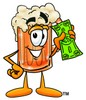 Cartoon Beer Mug Character with Money clipart