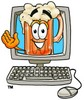 Cartoon Beer Mug Character in a Computer Screen clipart