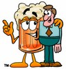 Cartoon Beer Mug Character Beside a Businessman clipart