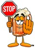 Cartoon Beer Mug Character Holding a Stop Sign clipart