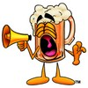 Cartoon Beer Mug Character Yelling at a Megaphone clipart