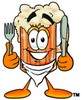Cartoon Beer Mug Character Holding Silverware clipart