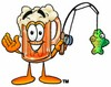 Cartoon Beer Mug Character Fishing clipart