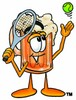 Cartoon Beer Mug Character Playing Tennis clipart