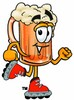 Cartoon Beer Mug Character Rollerblading clipart
