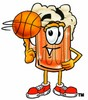 Cartoon Beer Mug Character Playing Basketball clipart