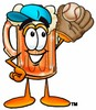 Cartoon Beer Mug Character Playing Baseball clipart