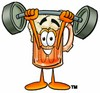 Cartoon Beer Mug Character Lifting Weights clipart