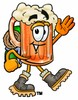 Cartoon Beer Mug Character Hiking clipart