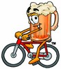 Cartoon Beer Mug Character Bicycling clipart