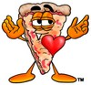 Cartoon Pizza Character with a Heart clipart