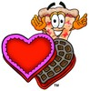 Stock Clipart Image of a Cartoon Pizza Character with Valentine's Candies