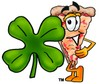 Cartoon Pizza Character with a Four Leaf Clover clipart