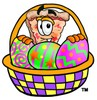 Stock Clipart Image of a Cartoon Pizza Character with a Basket of Easter Eggs