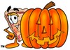 Stock Clipart Image of a Cartoon Pizza Character with a Halloween Pumpkin