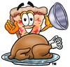 Cartoon Pizza Character Uncovering Thanksgiving Turkey clipart
