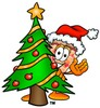 Cartoon Pizza Character Behind a Christmas Tree clipart