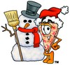 Cartoon Pizza Character with a Snowman clipart