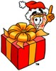 Cartoon Pizza Character with a Christmas Present clipart