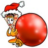 Stock Clipart Image of a Cartoon Pizza Character with Christmas Tree Ornament