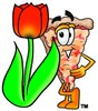 Stock Clipart Image of a Cartoon Pizza Character Beside a Tulip