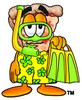 Stock Clipart Image of a Cartoon Pizza Character Wearing Snorkel Gear