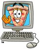 Cartoon Pizza Character Waving from a Computer Screen clipart