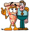 Cartoon Pizza Character with a Businessman clipart