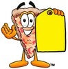 Cartoon Pizza Character Holding a Blank Price Tag clipart
