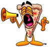 Cartoon Pizza Character Yelling Through a Megaphone clipart