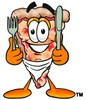 Cartoon Pizza Character Holding Silverware and Wearing a Bib clipart