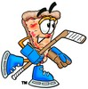 Cartoon Pizza Character Playing Hockey clipart