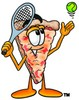 Cartoon Pizza Character Playing Tennis clipart