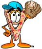 Cartoon Pizza Character Playing Baseball clipart
